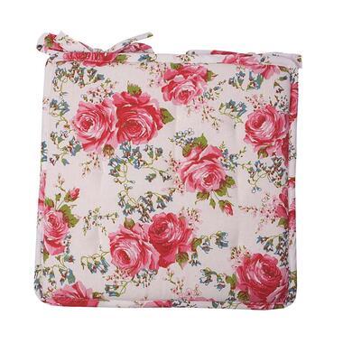 Zitkussen Rosemary - wit/roze - 40x40 cm - Leen Bakker
