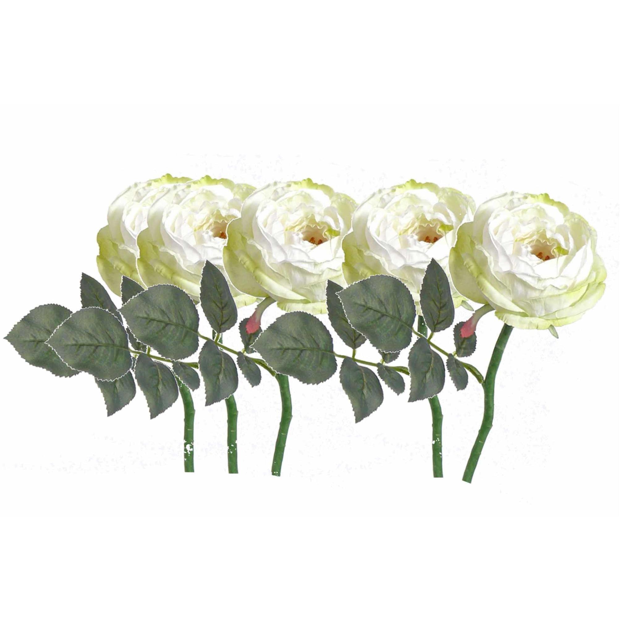 8x stuks luxe kunstbloemen roos/rozen Luna wit 33 cm -