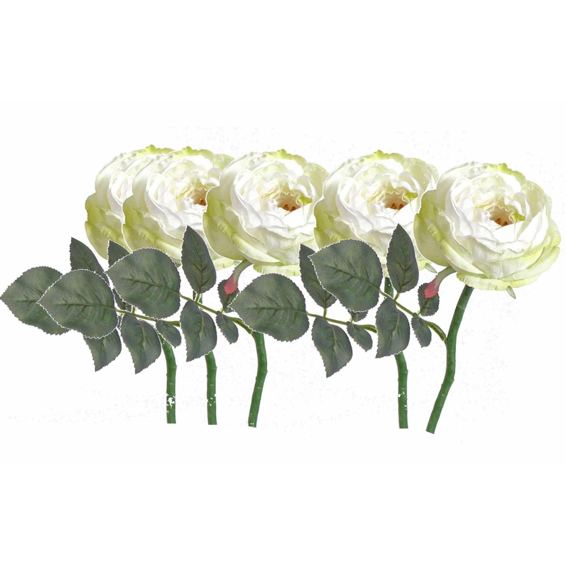 5x stuks luxe kunstbloemen roos/rozen Luna wit 33 cm -