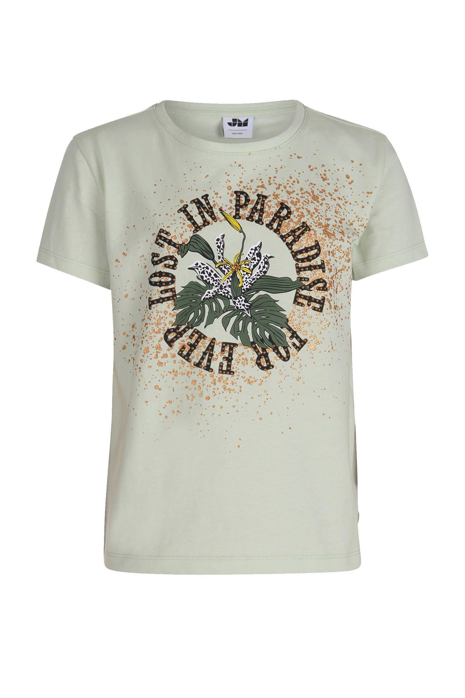 Jill & Mitch by Shoeby T-shirt Harmony met printopdruk lichtgroen/oranje - maat 134/140