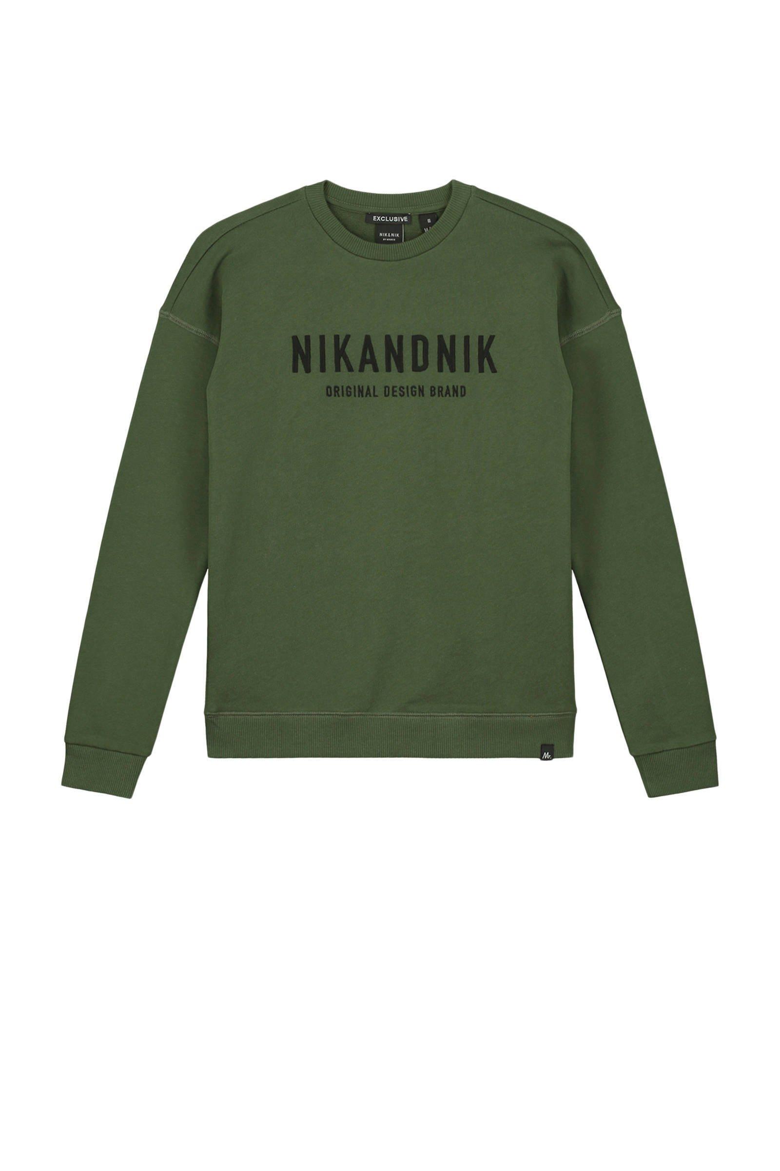 NIK&NIK sweater Milo met logo mosgroen - maat 140