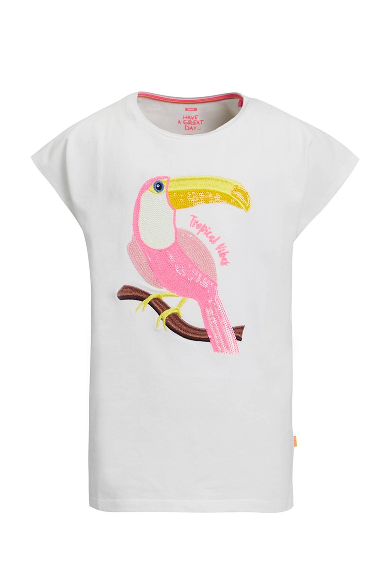 WE Fashion T-shirt met printopdruk en pailletten wit - maat 122/128