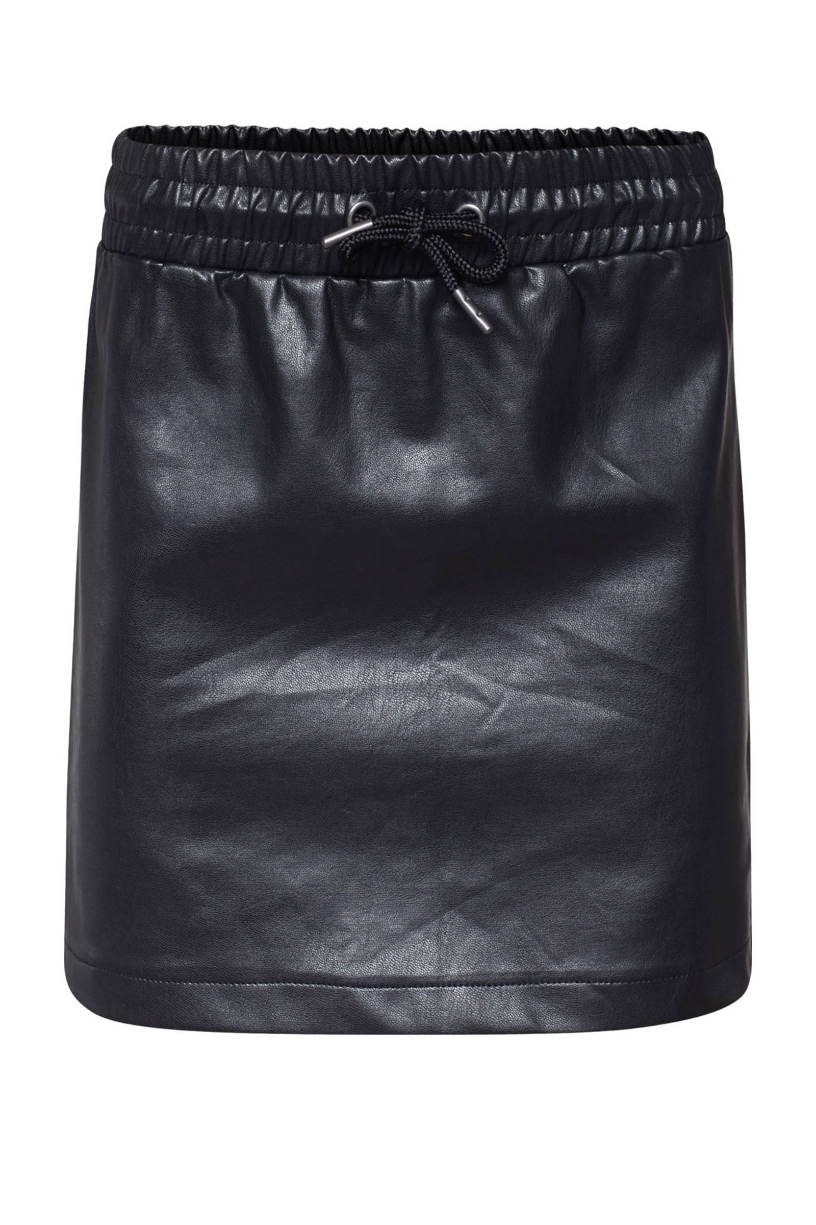 WE Fashion imitatieleren rok zwart - maat 92