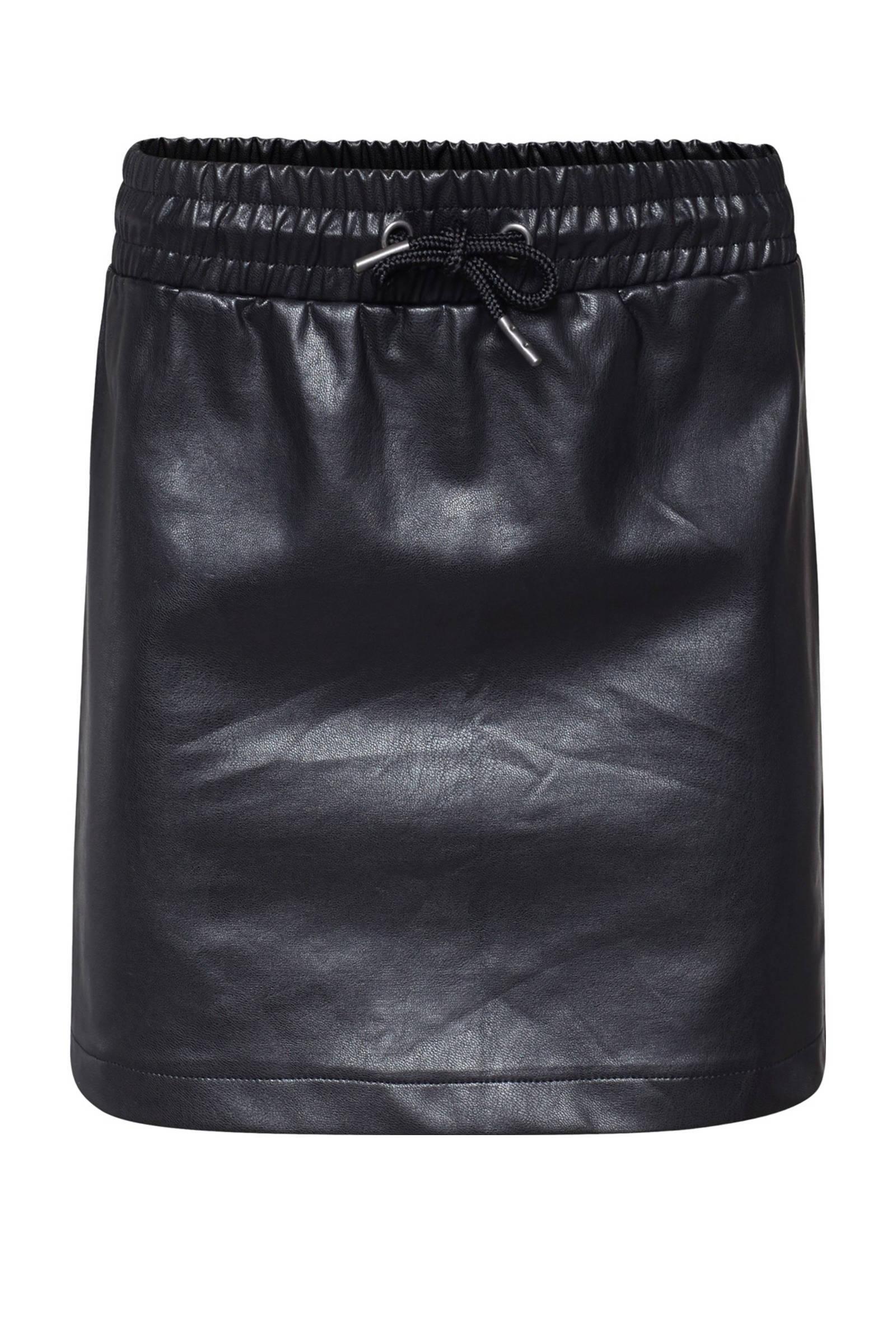 WE Fashion imitatieleren rok zwart - maat 158/164
