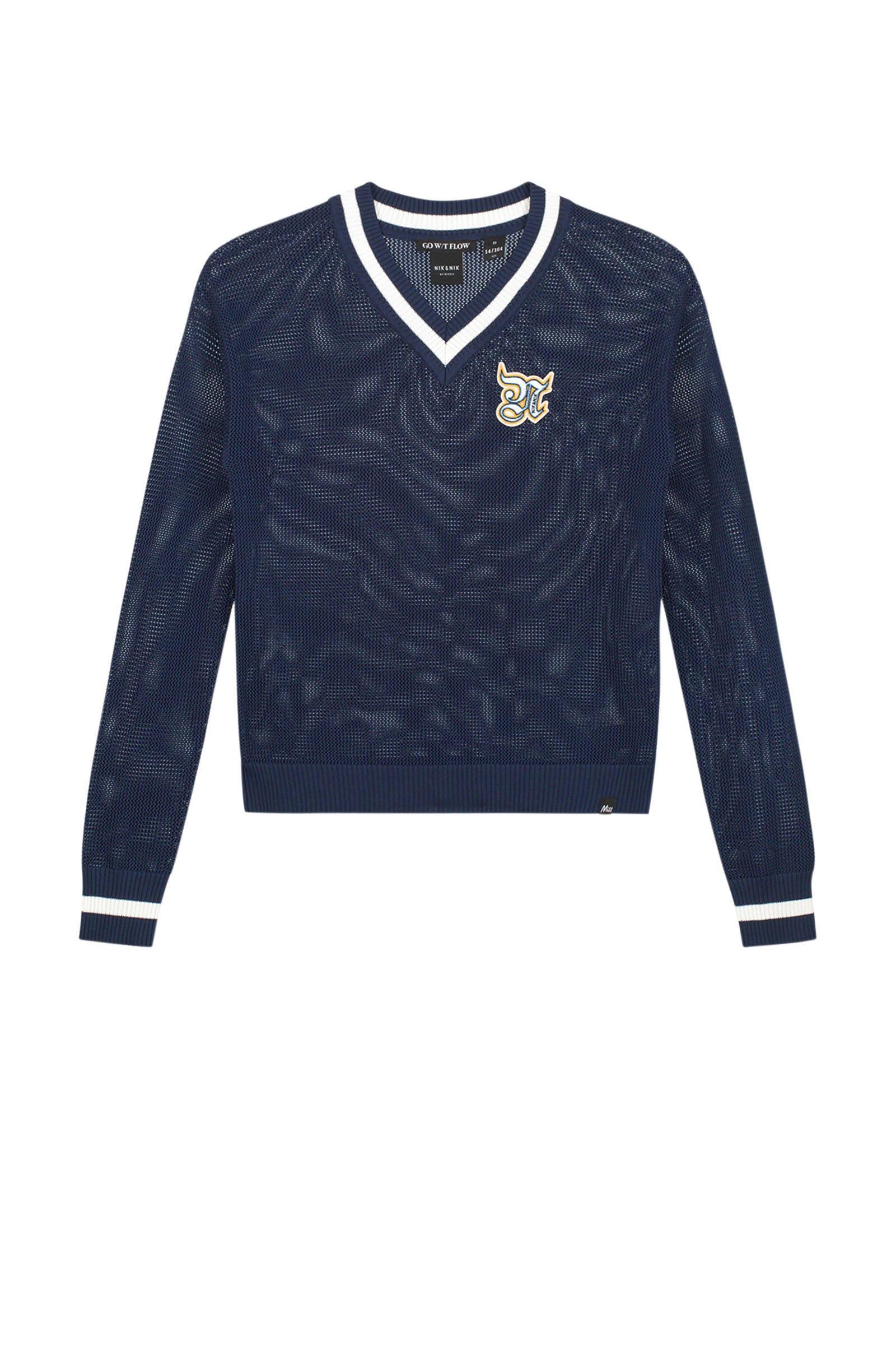 NIK&NIK trui Stanford met logo blauw/wit - maat 152
