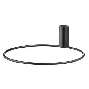Kandelaar Seppe - metaal - zwart - 19x5,5 cm - Leen Bakker