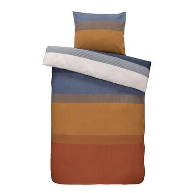 Comfort dekbedovertrek Bruce - blauw/cognac - 140x200/220 cm - Leen Bakker