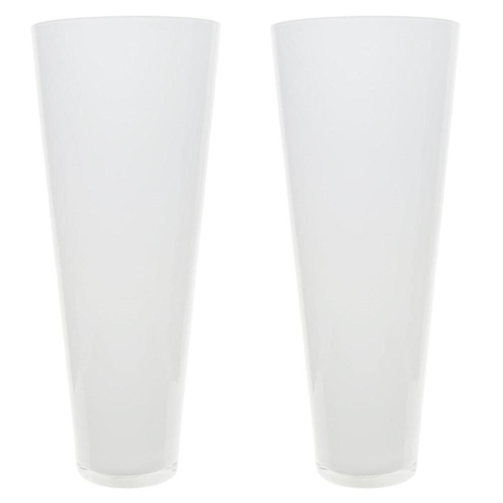 Set van 2x stuks conische bloemen vaas/vazen mat glas 43 cm hoog -