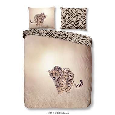 Good Morning dekbedovertrek Cheetah - zand - 200x200/220 cm - Leen Bakker