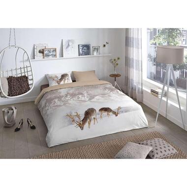 Good Morning dekbedovertrek Flanel Winter - zand - 140x200/220 cm - Leen Bakker