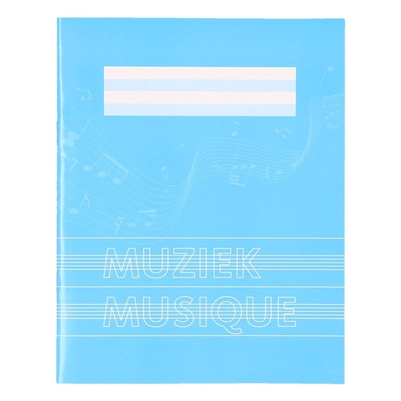 1x Stuks A5 Schriften / Schoolschrift Blauw Met Muzieknoten - 18 Bladzijden 23 Lijns