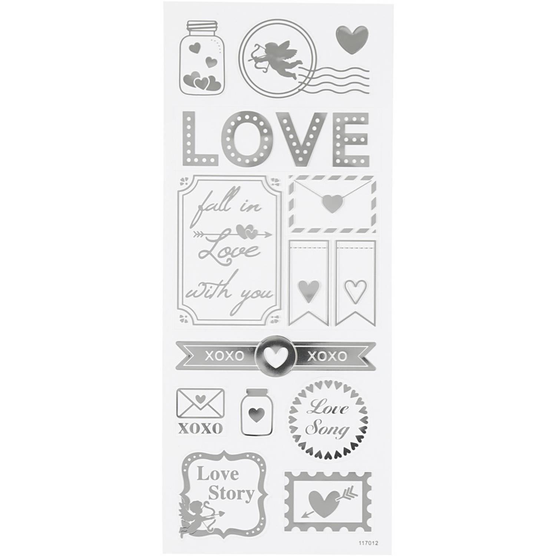 Creotime Stickers Love Zilver 10 X 24 Cm 14-delig