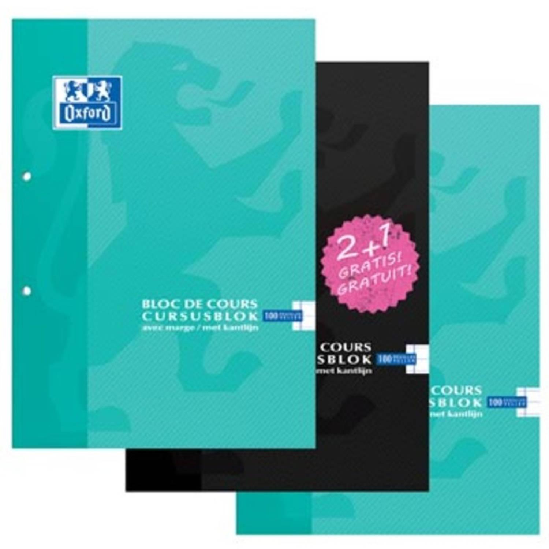 Oxford Cursusblok 2 + 1 Gratis, Geassorteerde Kleuren, Ft A4, 100 Vel, Gelijnd