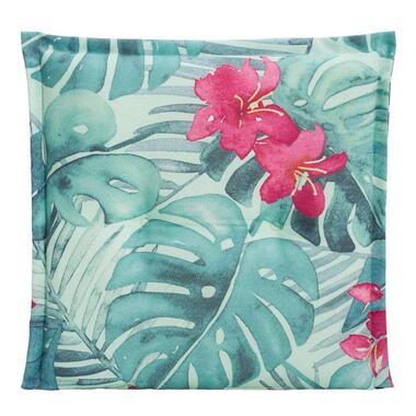Le Sud zitkussen Tropic Flower - aqua - 44x44x7 cm - Leen Bakker