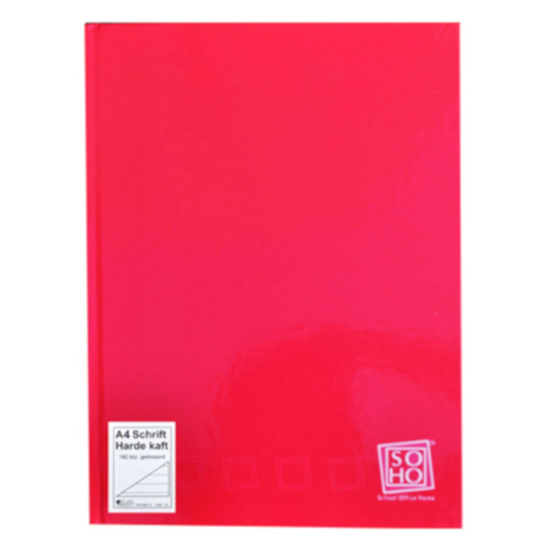 Soho Schrift Gelinieerd Met Harde Kaft A4 Papier Rood