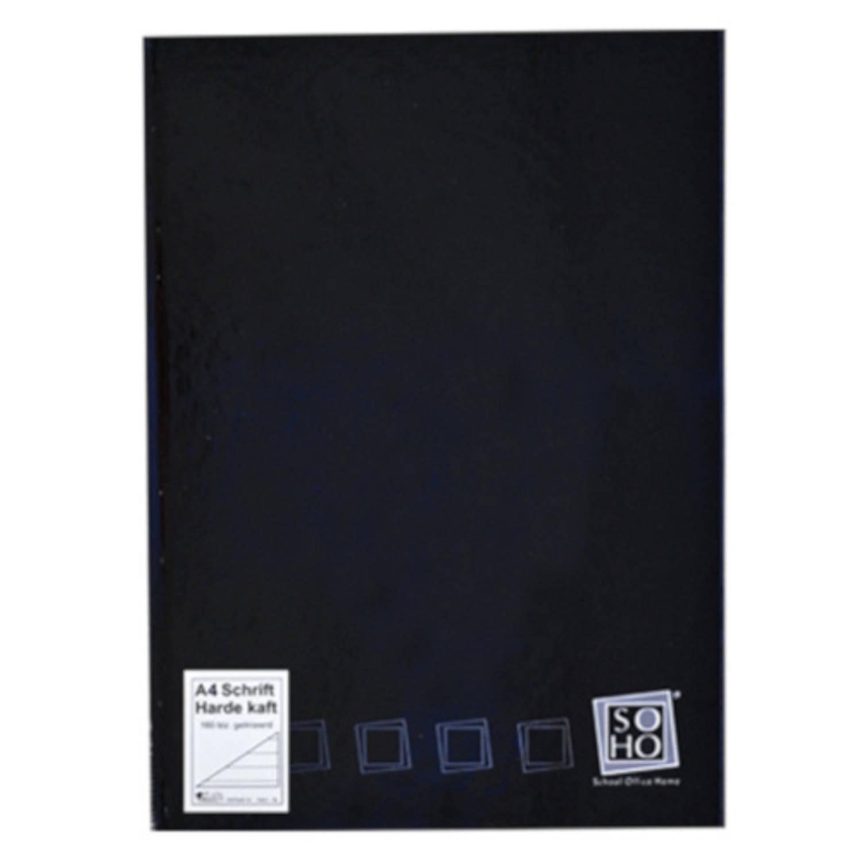 Soho Schrift Gelinieerd Met Harde Kaft A4 Papier Zwart