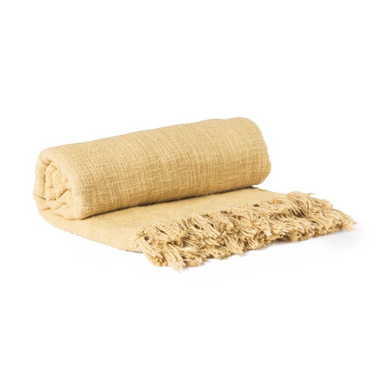 Plaid geweven - franjes - okergeel - 130x150 cm