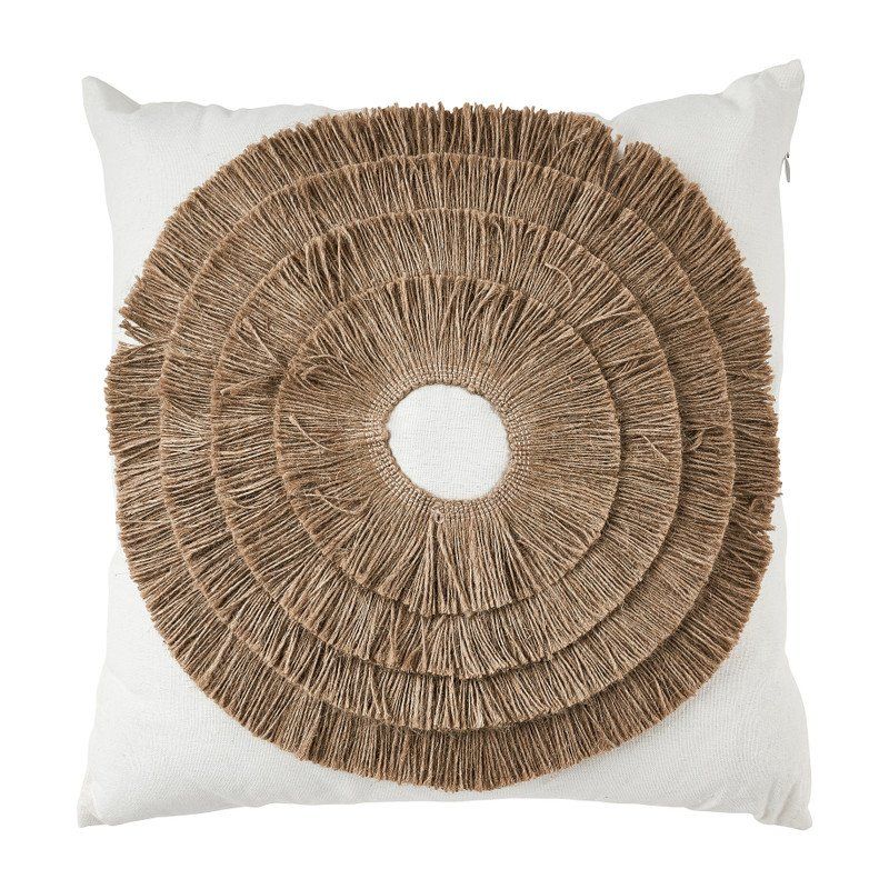 Kussen mandala riet - wit - 43x43 cm