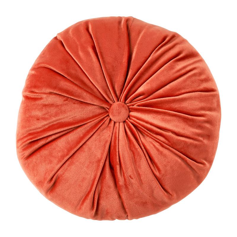 Sierkussen velvet - oranje - ⌀28 cm