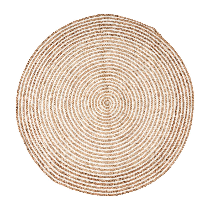 Vloerkleed jute - rond - naturel/wit - 120 cm
