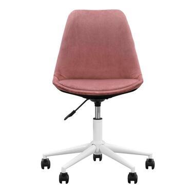 Bureaustoel Senja - velvet - roze - wit metaal - Leen Bakker