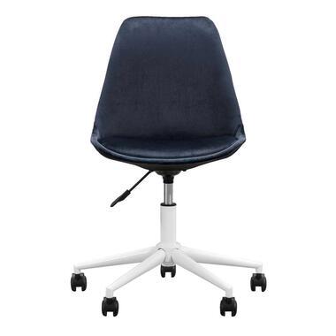 Bureaustoel Senja - velvet - blauw - wit metaal - Leen Bakker