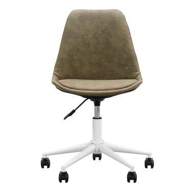 Bureaustoel Senja - stof- groen - wit metaal - Leen Bakker