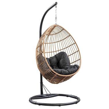 Hangstoel Brava met frame - naturel - 191x96x96 cm - Leen Bakker
