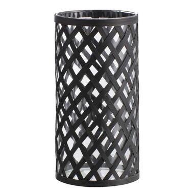 Kandelaar Keulen bamboe - zwart - 20x10,5 cm - Leen Bakker
