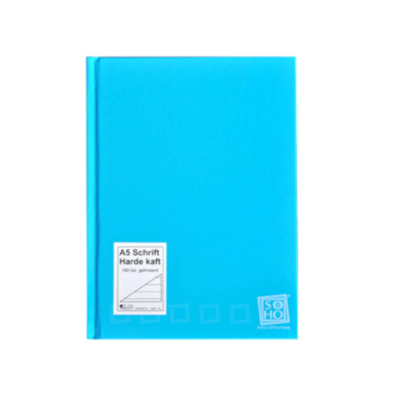 Soho Schrift Gelinieerd Met Harde Kaft A5 Papier Blauw