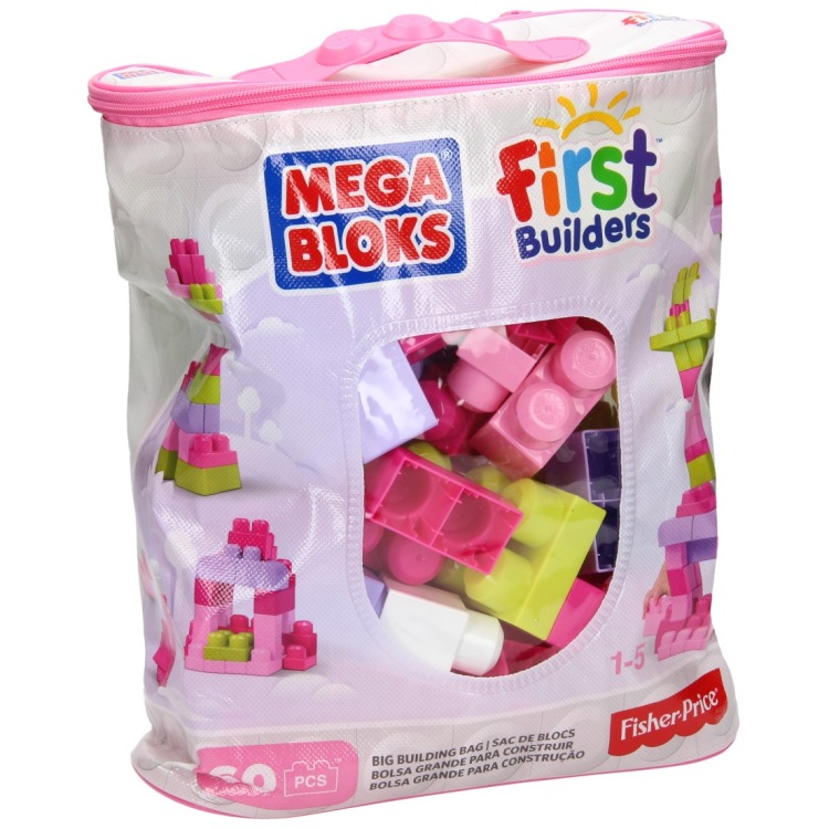 Mattel First Builders - Big Building Bag (Roze), 60 stuks DCH54