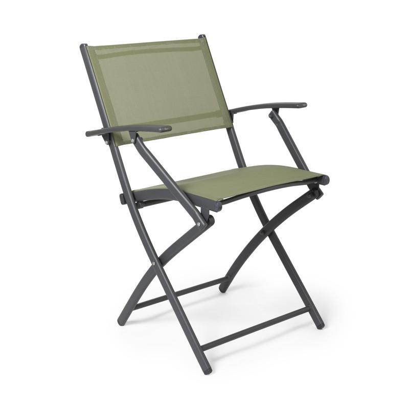 Vouwstoel - groen - met armleuning - 46x52x85 cm