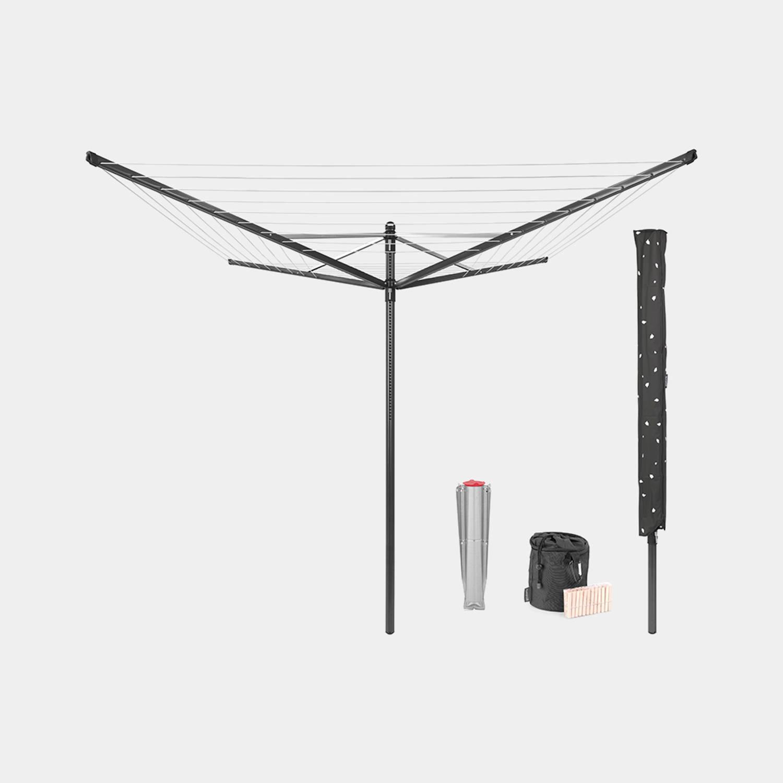 Brabantia Lift-o-matic Droogmolen 50 Meter Met Grondanker, Beschermhoes, Wasknijpertasje En Wasknijpers - Anthracite