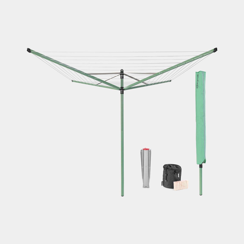Brabantia Lift-o-matic Droogmolen 50 Meter Met Grondanker, Beschermhoes, Wasknijpertasje En Wasknijpers - Leaf Green