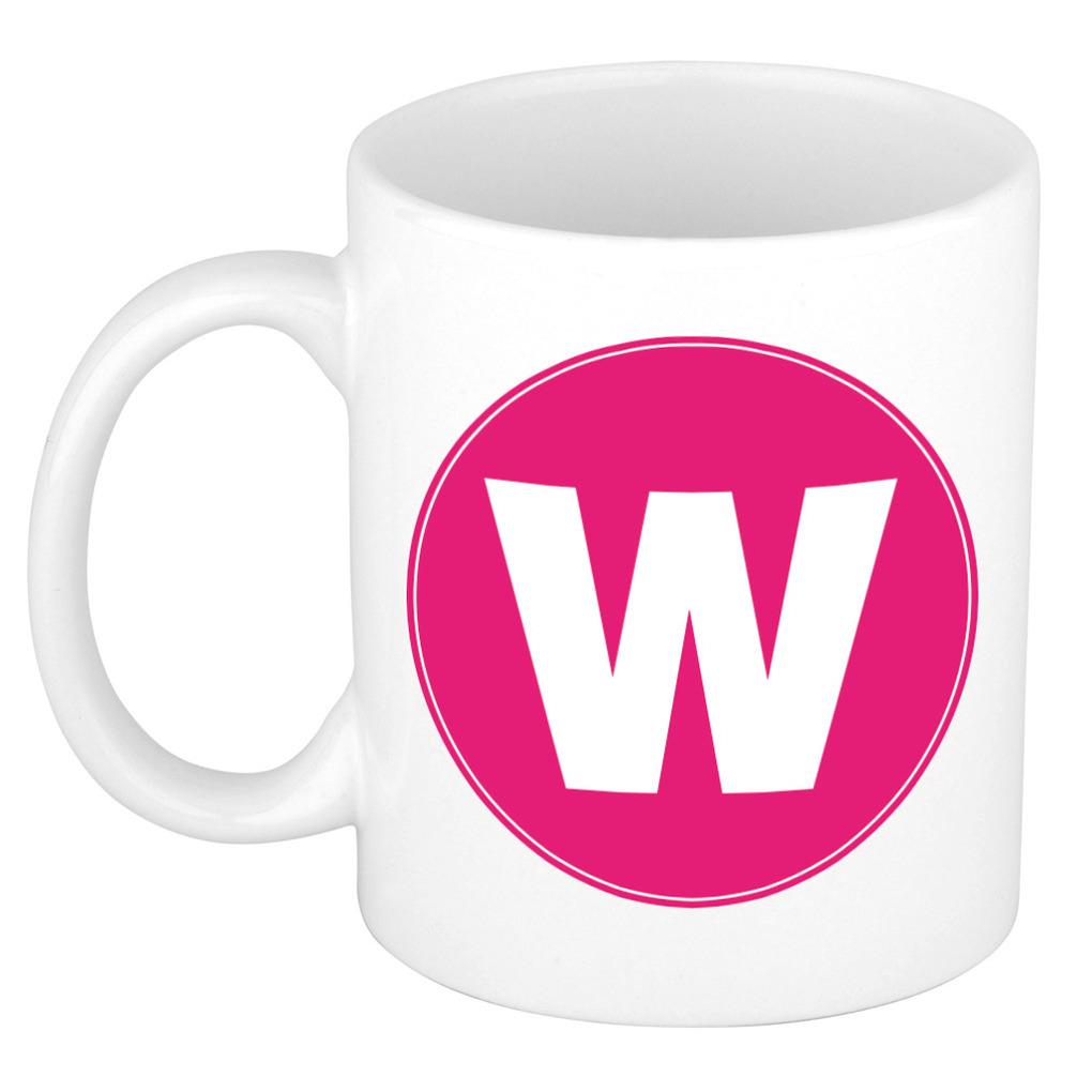 Mok / beker met de letter W roze bedrukking voor het maken van een naam / woord of team -