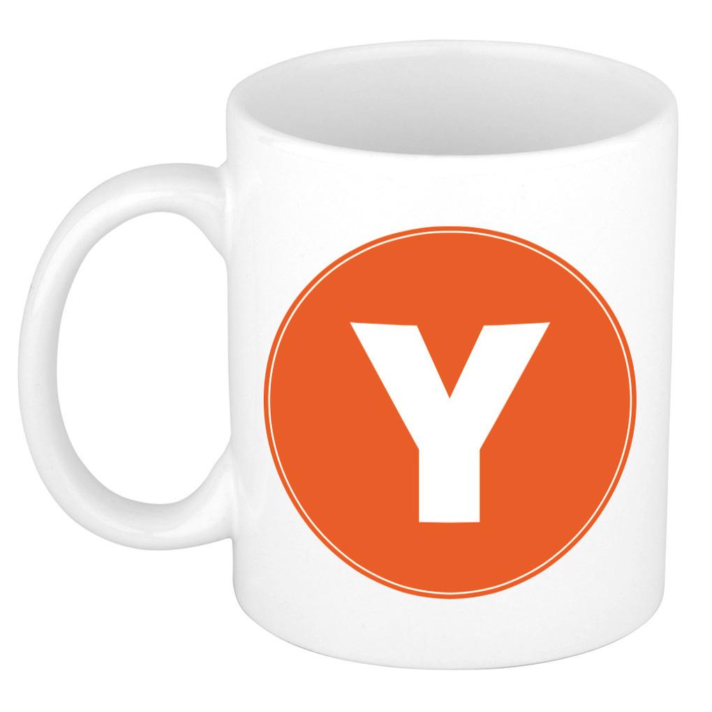 Mok / beker met de letter Y oranje bedrukking voor het maken van een naam / woord of team -