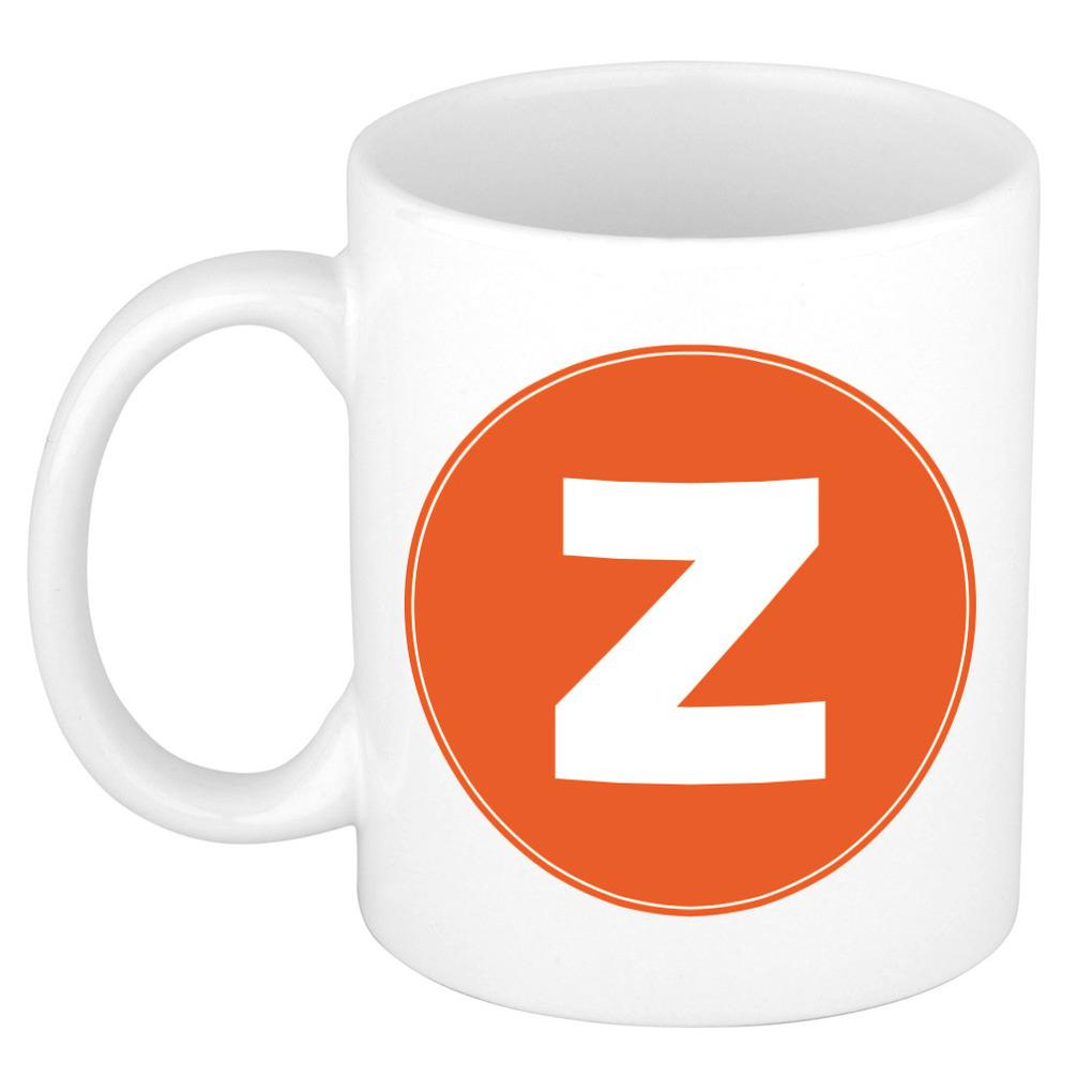 Mok / beker met de letter Z oranje bedrukking voor het maken van een naam / woord of team -