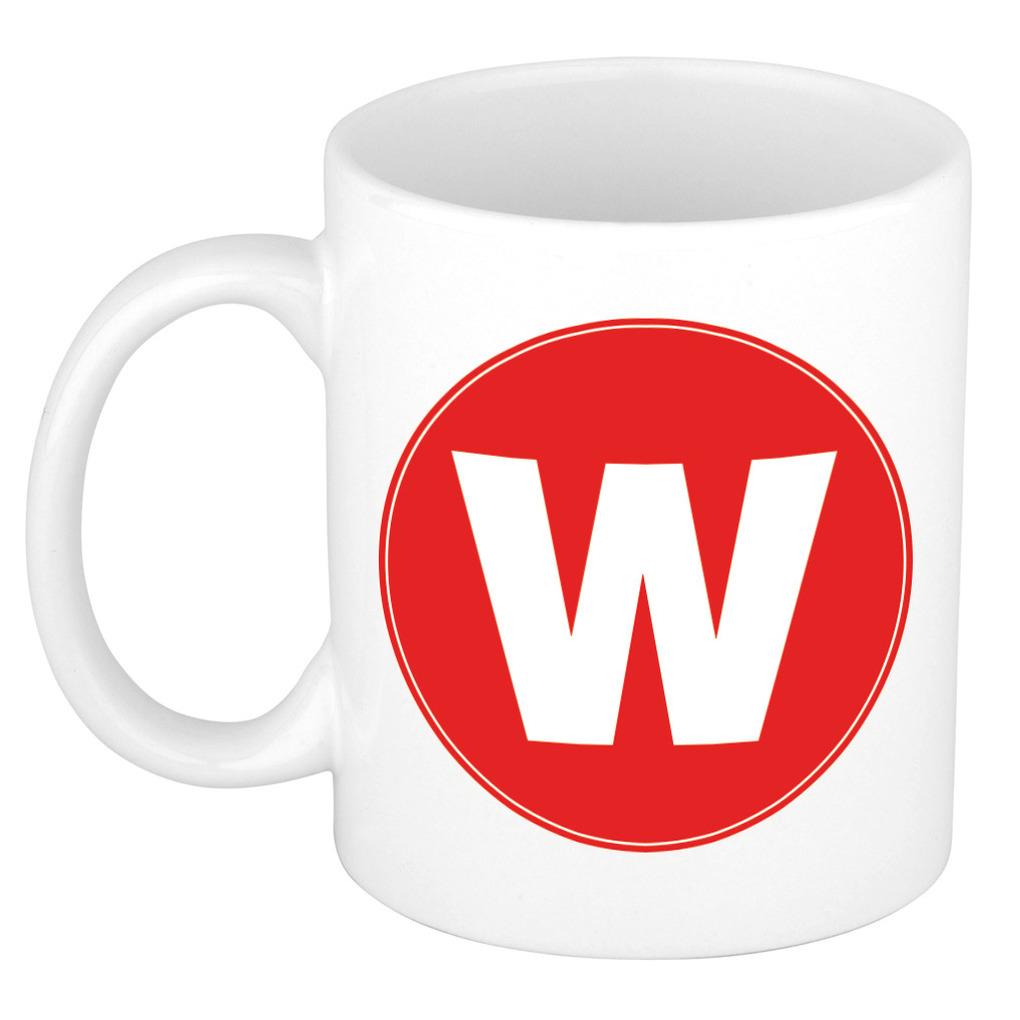 Mok / beker met de letter W rode bedrukking voor het maken van een naam / woord of team -