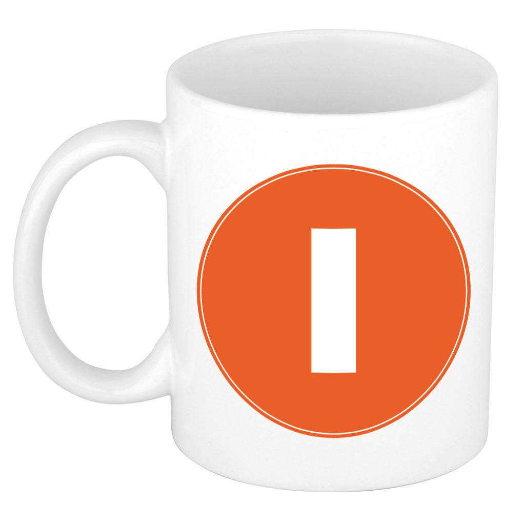 Mok / beker met de letter I oranje bedrukking voor het maken van een naam / woord of team -