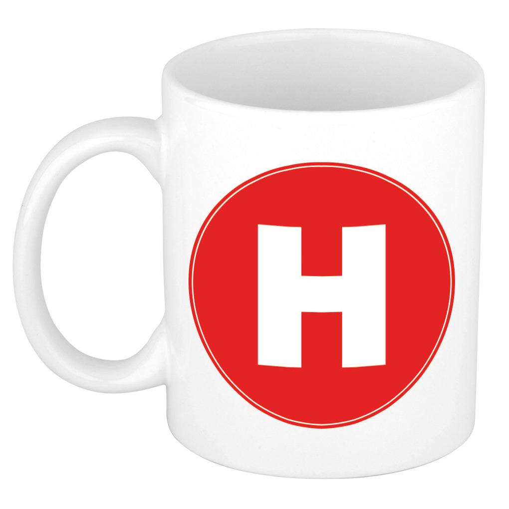 Mok / beker met de letter H rode bedrukking voor het maken van een naam / woord of team -