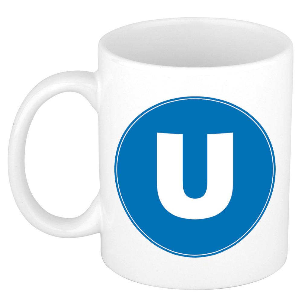 Mok / beker met de letter U blauwe bedrukking voor het maken van een naam / woord of team -