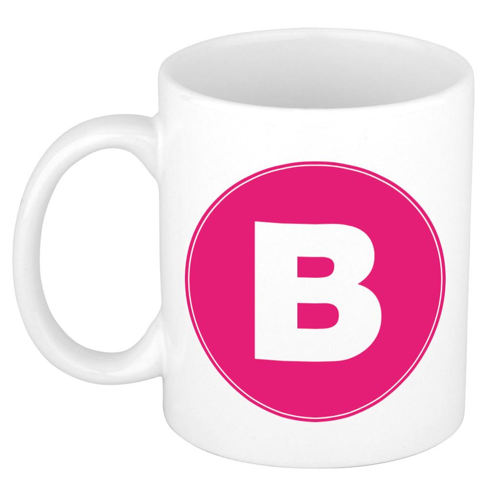 Mok / beker met de letter B roze bedrukking voor het maken van een naam / woord of team -