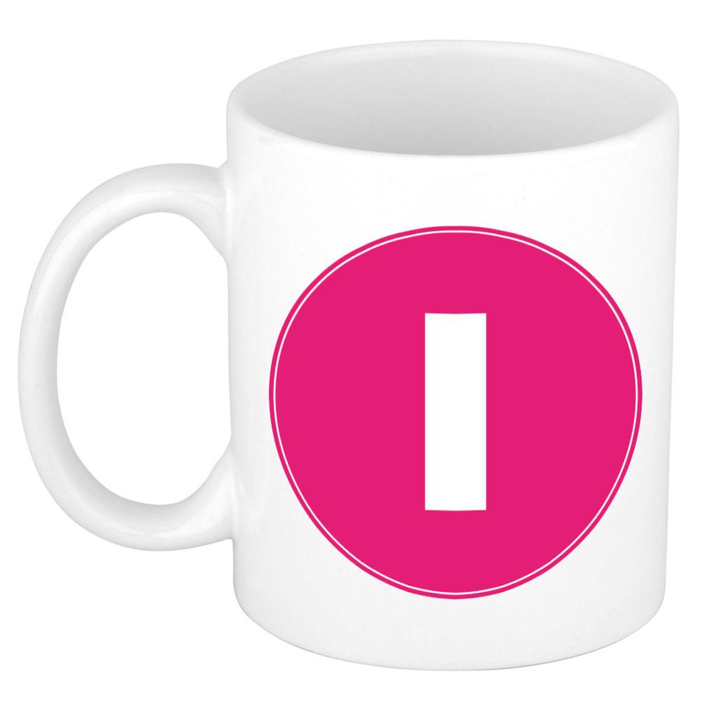 Mok / beker met de letter I roze bedrukking voor het maken van een naam / woord of team -