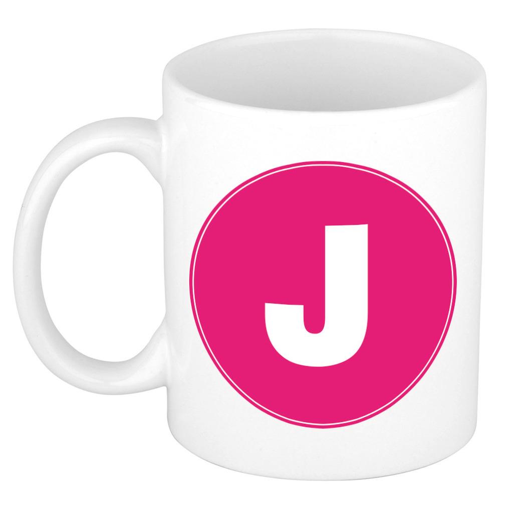 Mok / beker met de letter J roze bedrukking voor het maken van een naam / woord of team -
