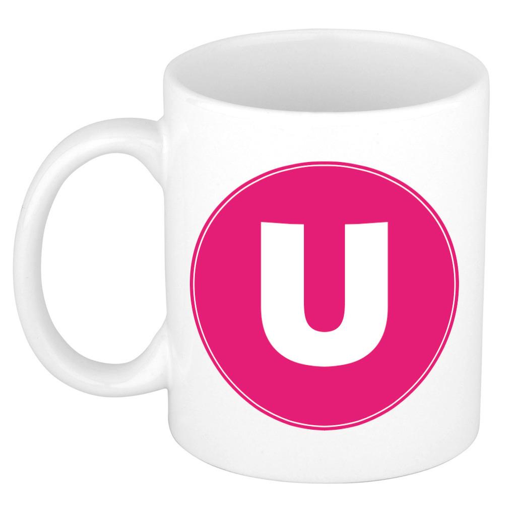 Mok / beker met de letter U roze bedrukking voor het maken van een naam / woord of team -