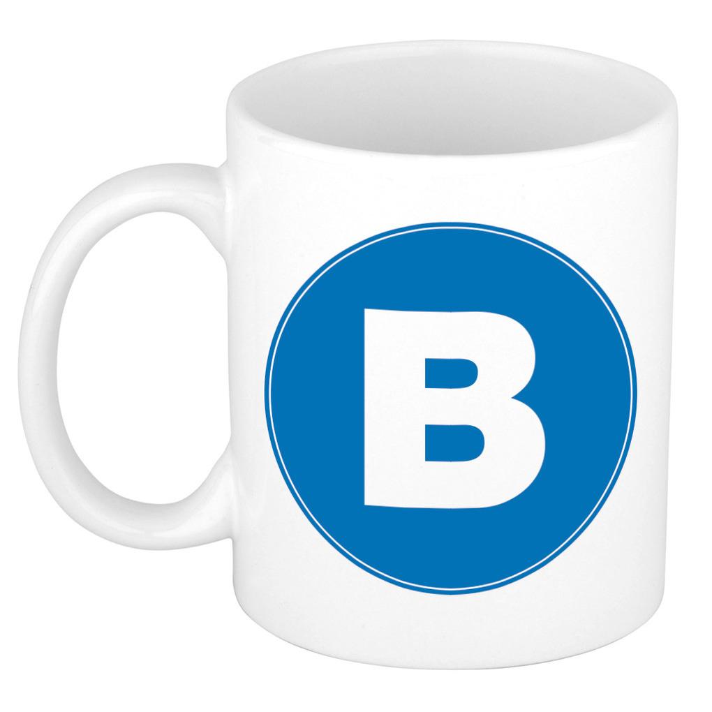 Mok / beker met de letter B blauwe bedrukking voor het maken van een naam / woord of team -