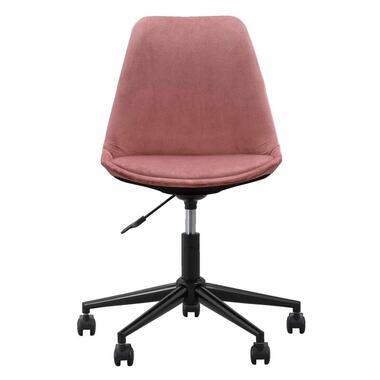 Bureaustoel Senja - velvet - roze - zwart metaal - Leen Bakker