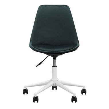 Bureaustoel Senja - velvet - groen - wit metaal - Leen Bakker
