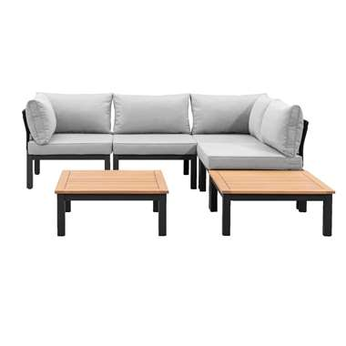 Le Sud modulaire loungeset Ardeche V3 - lichtgrijs - 6-delig - Leen Bakker