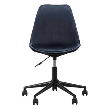 Bureaustoel Senja - velvet - blauw - zwart metaal - Leen Bakker